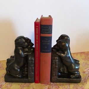 Vintage pair metal puppies bookends adorable